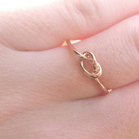 Rose Gold Knot Ring - Knot Ring - Statement Ring - Minimalist Ring - Dainty Ring - Stackable Ring - Valentines Day Gift