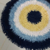 "Evil Eye Crochet Circle Rug 31"" Round Rug Floor Mat Positive Energy Nursery Room Rug Baby Room Rug Kitchen Rug Yoga Rug Good Luck Rug"
