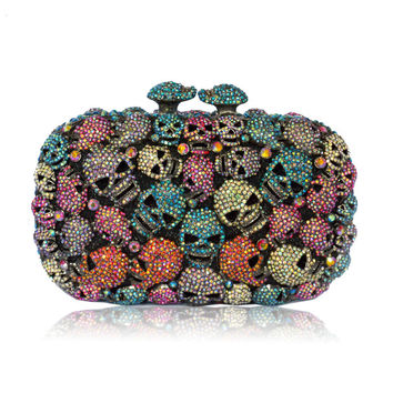 Skull Full Crystal Rhinestone Evening Cutch