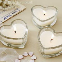 Set of 3 Scented Glass Heart Candles - Roasted Chestnuts