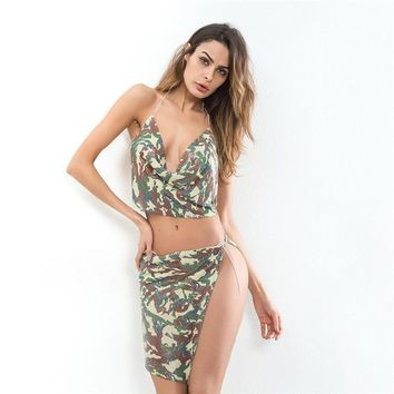 Summer Women's Fashion Club Metal Camouflage Chain Spaghetti Strap Backless Dress Set [471485349929]