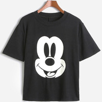Mickey Head Print Short Sleeve Cropped Graphic Tee