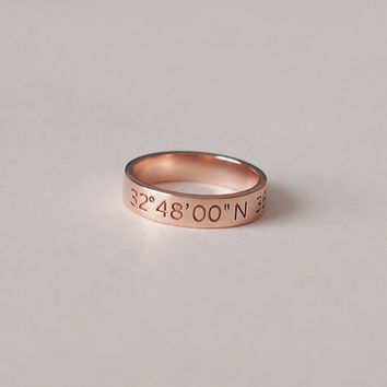 20% OFF - Coordinates Ring / Latitude Longitude Ring / Personalized Latitude Longitude Jewelry / Location Ring - CR08