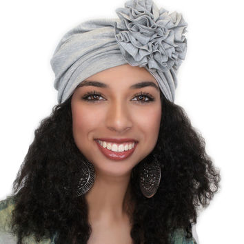 Heather Gray Flower Turban