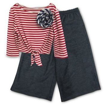 Pippa & Julie™ 2-Piece Striped Top and Knit Sailor Pant Set