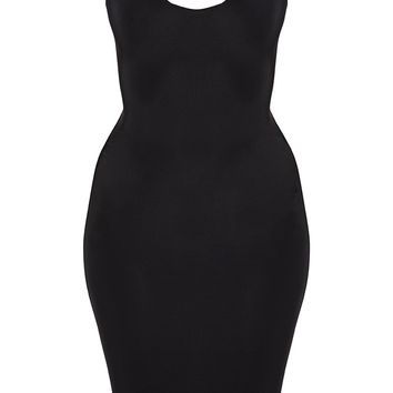Black Second Skin Slinky Scoop Neck Midi Dress