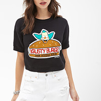 FOREVER 21 Krusty Burger Sweatshirt Top Black/Multi