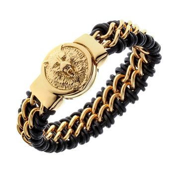 Mens black leather stainless steel gold silver color wolf chain link bracelet heavy jewelry