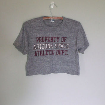 Vintage crop tshirt / Crop 1980s football tee / Arizon state crop tshirt