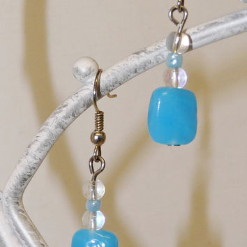Drop Style Earrings with Teal or blue/green Square Czech Glass Beads and SP Fish Hook Style Ear Wires