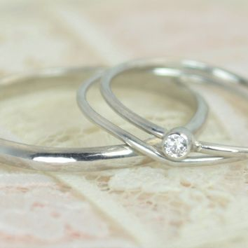 Tiny 14k Solid White Gold Diamond Ring Wedding Set