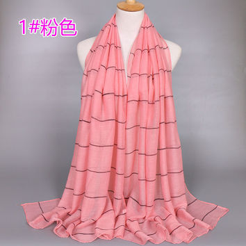 High quality women's fashion chiffon scarf shawl sunscreen plaid striped scarf printed scarves scarves Muslim 180-95 CM