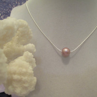 swarovski floating pearl, bridal, bridesmaids, everyday jewelry necklace done in your choice of pearl color. #219
