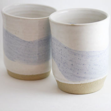 "Pair: White & Blue 12 ounce oz Tumblers / Wine Glasses / Tea Cup Bowls / Handleless Mugs, ""Foamy Sea"", Handmade Wheel Thrown ceramic"