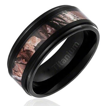 9MM Titanium Ring Wedding Band Black Plated with Camouflage Inlay Stepped Edges | FREE ENGRAVING