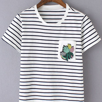 Black White Stripe Embroidery Pocket T-Shirt