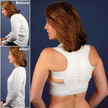 Adjustable Magnetic Posture Support Corrector Back Pain Feel Young Belt Brace for 90-110cm Chest and Waist Unisex = 5987651073