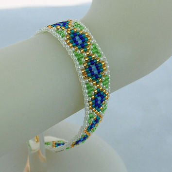 Blue, Teal, Green and Gold Loomed Seed Bead Bracelet, Stacking Bracelet, Stackable Bracelet, Seed Bead Bracelet
