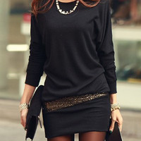 Black Long Sleeve Sequined Mini Dress