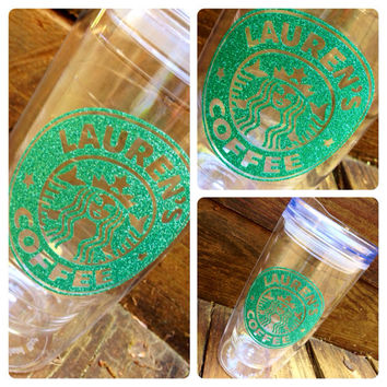 "Personalized "" Starbucks"" Coffee 16oz. Glitter Tumbler  - Hot or Cold Beverages."