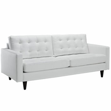 Empress Leather Sofa White