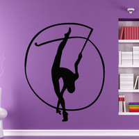Wall Decals Girl Gymnast With A Ribbon Sport Gymnastics People Home Vinyl Decal Sticker Kids Nursery Baby Room Decor kk511