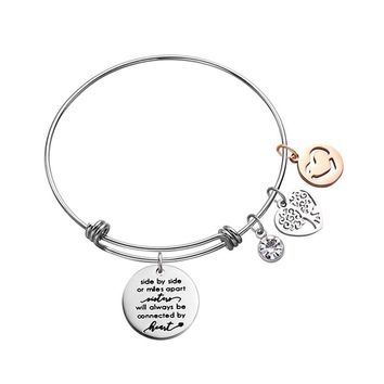 Sister Bracelet Wire Distance Bracelet with Tree of life Pendant Heart Charm Zirconia Stainless Steel Bangle for Women Girls
