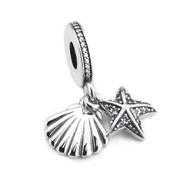 Fit Brand Bracelets DIY Beads for Jewelry Making Sterling-Silver-Jewelry Tropical Starfish &Sea Shell Charms 925 Berloque Perles