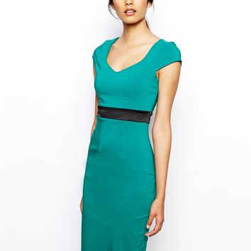 Vesper Maddison Pencil Dress with Contrast Waistband - Jade