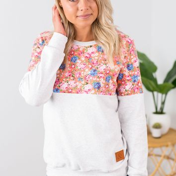 Floral Accent Pullover - Pink
