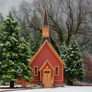 Yosemite Print, Winter Church Print, Red Chapel Photo, Rustic, Christmas Country Charm, Fine Art, Country Print, Large Canvas, Large Print