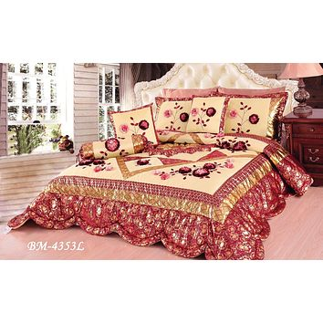 Tache 6 Piece Red Rose Garden Patchwork Luxury Floral Comforter Set (BM-4353L)