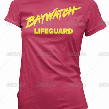 Baywatch Lifeguard T-Shirt -  womens, classic, tv, retro, CPR, bronze, first aid, pamela, bleeth, hasselhoff, electra, mitch buchannon