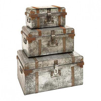 Set of 3 Galvanized Trunks