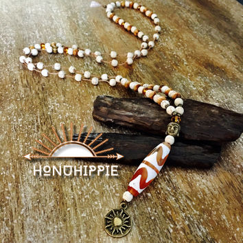 Sacred Dzi bead, sleeping Buddha , Sun symbol Mala necklace. Yoga jewelry