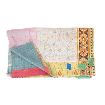 "Vintage Kantha Quilt -- Indian Patchwork Quilt -- Throw Blanket -- Boho Bedding -- 72"" x 56"""
