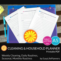 HOUSEHOLD ORGANIZER A5. Cleaning Checklist and Schedule PDF. House daily routine planner. Weekly household. Instant download. 3 docs.