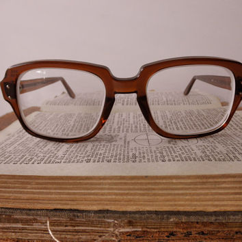 vintage USS tortoise shell eyeglass frames- military, glasses, 1980s