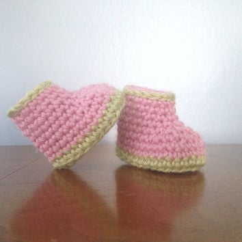 Newborn Girl Booties - Crochet Baby Clothes - Baby Girl Shoes - Pink and Green Crib Socks - Crochet Shoes - Baby Booties - Baby Shower Gift