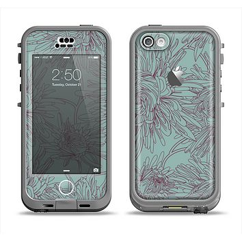 The Teal Aster Flower Lined Apple iPhone 5c LifeProof Nuud Case Skin Set