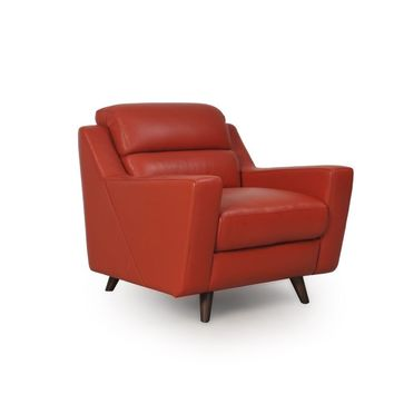 Lucia full leather Mid-Century Chair
