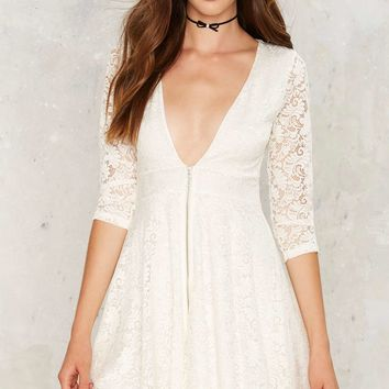 Zip Up the Ante Lace Dress