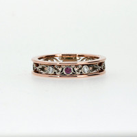Ruby and diamond filigree ring, filigree engagement ring, two tone ring, rose gold, white gold, pink wedding band, Ruby engagement, unique
