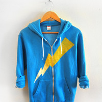 Yellow Lightning Bolt Hand STENCILED Zip Hoodie Heather Artist Series Sweatshirt in Neon Blue - XS S M L XL