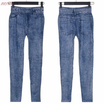 AOWOFS Lady Girl Blue Faux Jean Skinny Jeggings Stretchy Slim Pants Stars Plus Size for Women Jeans Clothing
