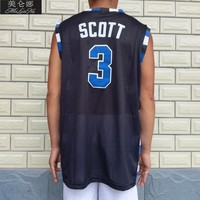 Movie Basketball One Tree Hill Jersey 3# Lucas Scott Jersey Black White Blue 3 Colors Stitched Size:S-3XL