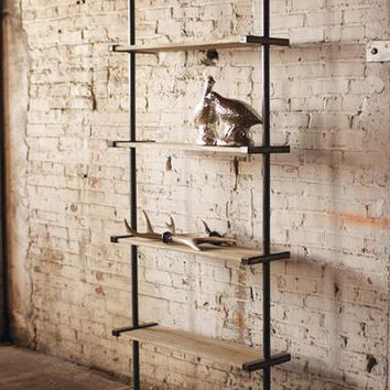 Tall Wood And Metal Wall Shelving Unit