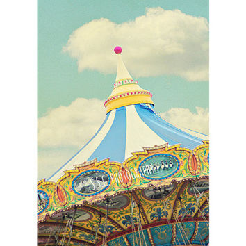 Carnival Photography. Fair Art. Santa Cruz Beach Boardwalk. Nursery Decor. Vintage nursery. Children's Room Art. Cloudy Sky. Blue. Yellow