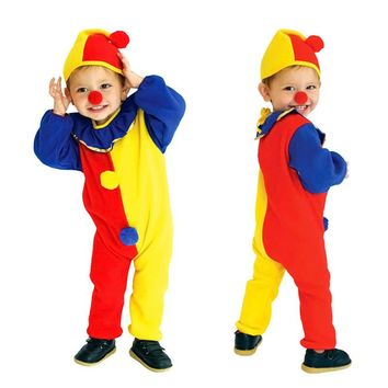 Children Kids Jumpsuits & Rompers+Hat Halloween Carnival Clown Circus Cosplay Costumes Party Children Sets BM88