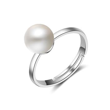 JEXXI Hot Sale Simple Silver Plated Imitation Pearl Wedding Party Rings For Woman Adjustable Open Finger Ring For Engagement